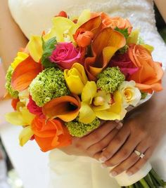 tropical bright wedding flower bouquet, bridal bouquet, wedding flowers, add pic source on comment and we will update it. www.myfloweraffair.com can create this beautiful wedding flower look.