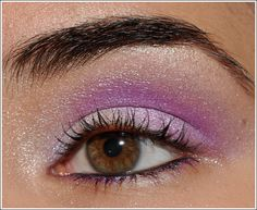 Eyes: NARS Smudgeproof Eyeshadow Base (neutral eyeshadow base), Lancome Amethyst Glam Eyeshadow Palette (pale white-pink, lilac purple, gray purple, soft lilac, blue violet), Hourglass Dune Eyeshadow Duo (champagne), Urban Decay Asphyxia 24/7 Liner (iridescent fuchsia), Urban Decay Perversion 24/7 Liner (black), Bare Escentuals Buxom Lash (black)