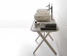 Nabhi collection by Kreoo marble bathroom sink sawhorse table