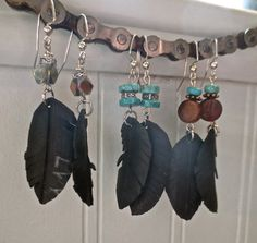 Recycled Bicycle bike Tube Feather Earrings with by maybirdjewelry, $16.00