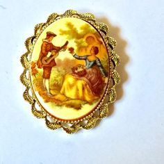 Vintage Gerry's Ornate Cameo Couple Courting Gold Tone Brooch Pendant #Gerrys