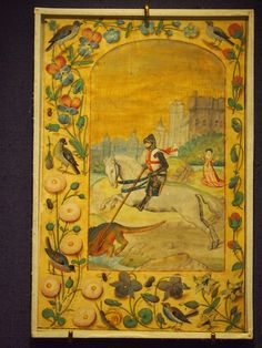 The moment St.George slays the dragon is somehow at variance with exotic birds and blooming flowers. The medieval aesthetics abounds in excesses. After all, they say that the dragon has become like a dog to St. George, right before getting lanced. Attached like a dog and then killed? We observe a double victory over the forces of evil; otherwise, it is not clear why dispatch the domesticated beast. When logic escapes us, we should see it as aesthetics.