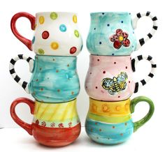 Hand Painted Ceramic Mug - Mix and Match Pottery