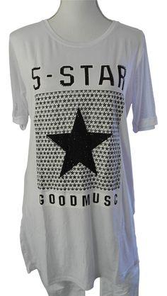 Impressionen Shirt T-Shirt Longshirt kurzarm weiß Sterne Stern Nieten Netz 38 40
