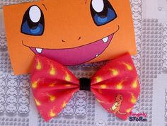 Pokemon Charmander Hair bow/ Bow tie  choose red or white Handmade unique  Geeky Kawaii Gamer Bow on Etsy, $6.75