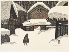 "76 Likes, 2 Comments - Art Lover (@art.discover.daily) on Instagram: ""Title: Winter in Aizu  Artist: Saito Kiyoshi Date: 1969 Medium: Ink and colors on paper  #love…"""