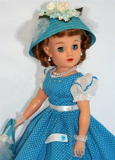 Ideal Miss REVLON vt-20 Vintage 50's Fashion Doll in Turquoise Dotted Swiss