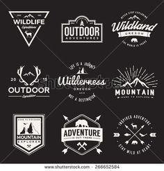 vector set of wilderness and nature exploration vintage logos, emblems, silhouettes and design elements. outdoor activity symbols with grunge textures - stock vector