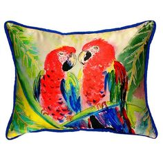 Betsy Drake Two Parrots -colored 16-inch x 20-inch Throw Pillow