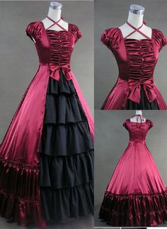 Gothic Victorian Style Puff Sleeves Cotton Girl Dress