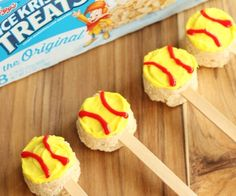Fun softball treats made from packaged Rice Krispie treats!