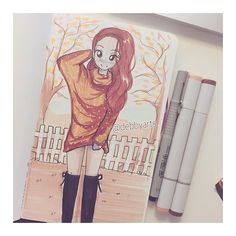 Hey guys!!! Finally Ive got my first Moleskine So.. First drawing on my Moleskine!!! ✍️ So excited to fill all the pages!!! ✨ #fall #mood #debbyarts #drawing #draw