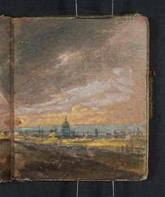 Joseph Mallord William Turner, 'View of London ?from Nunhead, with the Sun Breaking through Stormy Clouds; St Paul's Cathedral in the Distance' (J. Turner: Sketchbooks, Drawings and Watercolours) Joseph Mallord William Turner, Artist Journal, Artist Sketchbook, Art Romantique, Wow Art, Urban Sketching, Journal Inspiration, Painting & Drawing, Illustration Art