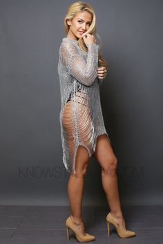 - Metallic Shredded Sweater Dress - Undergarments Not Included - 100% Polyester - Hand Wash Cold - No Bleach - Hang To Dry - Model is wearing a gold color on S and Rose Gold on M - Model body measurem