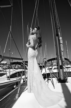glamorous wedding dress + St Tropez setting