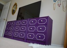 DIY Studded Trim Dresser made from three Ikea Rast drawer sets. Step-by-step tutorial with lots of pictures! Diy Furniture Projects, New Furniture, Do It Yourself Projects, Projects To Try, Blue Dresser, Swatch, Master Bedroom, Ikea, House Design