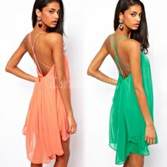 Buy women chiffon backless sling strap back clubwear evening mini party dress from dresslink,enjoy discount shopping and fast delivery now. Beach Dresses, Casual Dresses, Hawaiian Dresses, Casual Outfits, Summer Dresses, Peach Color Dress, Sexy Backless Dress, Online Shopping, Dresser