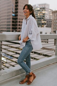 oversized blouse and denim #fallstyle