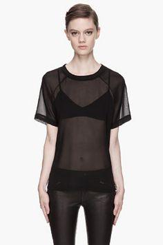 BLK DNM Black Silk Georgette T-shirt for women   SSENSE