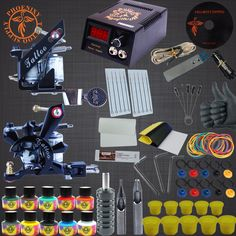 (36.39$)  Buy here - http://aip4a.worlditems.win/all/product.php?id=32790590251 - Tattoo Kit Tattoo Machine Set 10 Colors Tattoo Ink Sets Black Power Supply Needles Permanent Make Up Professional Tattoo Kits