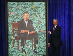 Barack y Michelle Obama presentaron sus coloridos retratos en un museo de Washington