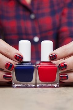 For a different take on holiday, paint on a mani in a cozy plaid in #tenoverten's vibrant red Ludlow and deep navy Commerce and celebrate in style!
