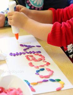 Colorful pumpkin seeds name activities for preschoolers