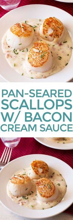 Pan-Seared Scallops with Bacon Cream Sauce | cakenknife.com