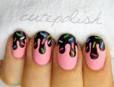 Strawberry ice cream nails with melting chocolate syrup and sprinkles! l<3ve!