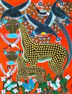 giraffes, tinga tinga art from tanzania
