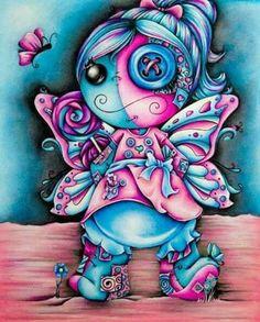 I love love this version of a voodoo doll Voodoo Doll Tattoo, Voodoo Dolls, Anime Chibi, Manga Anime, Doll Drawing, Goth Art, Arte Horror, Creepy Art, Fantastic Art