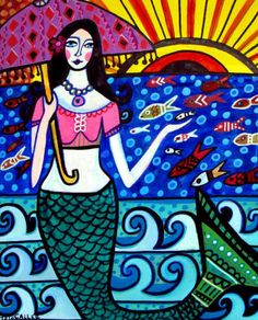Mermaid Art Print Mexican Folk Art Poster by HeatherGallerArt, $24.00