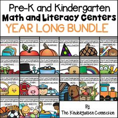 This bundle of themed Pre-K centers and Kindergarten centers contains over 360 print and play math and literacy activities! This is a YEAR LONG BUNDLE for 22 themed sets of Pre-K and Kindergarten Math and Literacy Centers a. Kindergarten Schedule, Full Day Kindergarten, Kindergarten Centers, Kindergarten Classroom, Literacy Centers, Kindergarten Freebies, Alphabet Activities, Kindergarten Activities, Activities For Kids