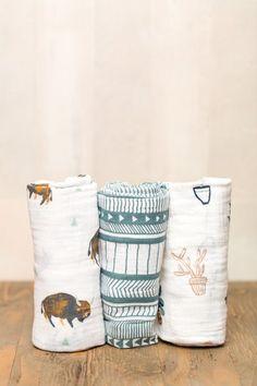 Little Unicorn Cotton Swaddle Set- 2016 Collection- Bison