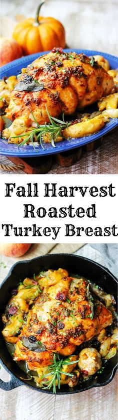 Fall Harvest Roasted Turkey Breast is a perfect recipe for Thanksgiving if you don't want to cook the whole bird. Apples, onions, cranberries, herbs and honey-apple cider glaze!