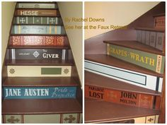 """Some cool """"book"""" stairs painted by Rachel Downs."""