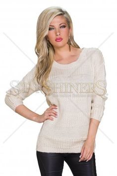 Warm Moment Cream Sweater, women`s sweater, easy cut, elastic fabric, knitted fabric Great Cuts, How To Get Warm, Warm Sweaters, Cream Sweater, Warm Outfits, Clothing Items, Knitted Fabric, In This Moment, Pullover