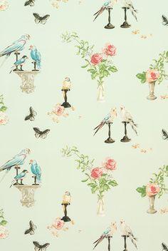 "Nina Campbell for Osborne and Little ""Perroquet"" Fabric Drapery Panels Nina Campbell Wallpaper, Osborne And Little, Colorful Parrots, Morris, Fabric Wallpaper, Parrot Wallpaper, Wallpaper Ideas, Nursery Wallpaper, Illustrations"