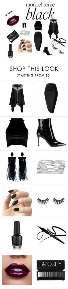 """Back in Black"" by pkgabriel ❤ liked on Polyvore featuring Boohoo, Gianvito Rossi, Oscar de la Renta, M&Co, Incoco, allblack and backinblack"