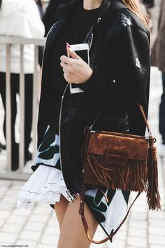 Fringed Bag | PFW by Collage Vintage more outfit inspo at www.ddgdaily.com #outfits #style #fashion
