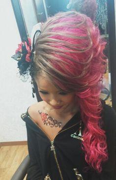 成人式 hair set Pink silver red Body jewelry Butterfly Rose サイド筋流し Photo by welina Hitomi.yanagida(´∇`)