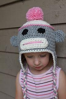 sock monkey crochet hat pattern