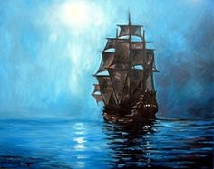 a solid painting of a ship at sea...