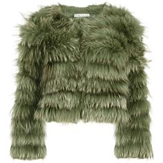 Alice + Olivia Fawn Green Cropped Fur Jacket - Size L (€1.560) ❤ liked on Polyvore featuring outerwear, jackets, coats, fur, green fur jacket, fur jacket, green jacket, cropped jacket and alice olivia jacket