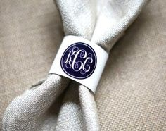Personalized Silver Napkin Ring Set - Brides LOVE anything featuring their new monograms. Help them set their table in style.