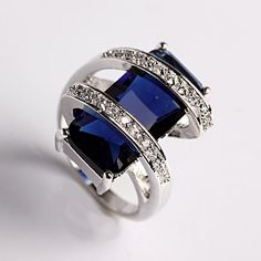 925 Sterling Silver Dazzling Sapphire Topaz Gemstones EP Diamond silver Ring…