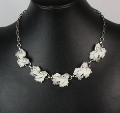 Vintage Sarah Coventry Whispering Leaves Necklace Silver Tone Enamel #SarahCoventry #Collar