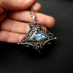 Halskette mit Labradorit Silber Draht gewickelt von GaleriaM