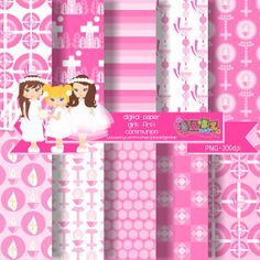 Digital Paper Girls First Communion por GabzDesignShop en Etsy, $5.00