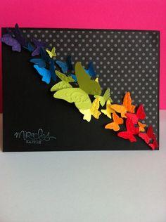 Schwarz-bunte Karte mit Schmetterlingen